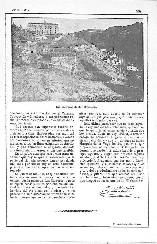 Artículo de Manuel Castaños y Montijano sobre la el nuevo Camino de Ronda de Toledo publicado en la Revista Toledo en julio de 1924. Pág. 5