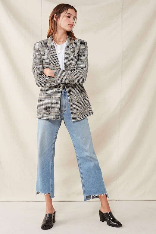 Plaid Blazer Jacket Trend Fall Outfit Idea White Tee Vintage Raw Hem Jeans Denim Black Mules Le Fashion Blog