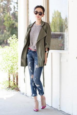 Current Elliott jacket - Current Elliott jeans - Karen Walker sunglasses