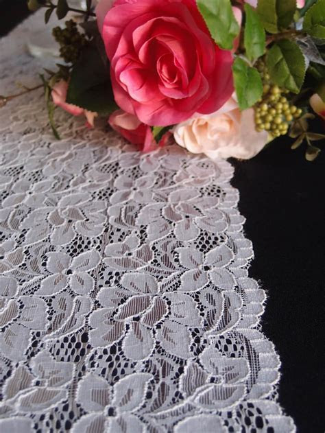 White Lace Table Runner 12 x 108 Floral Lace Design