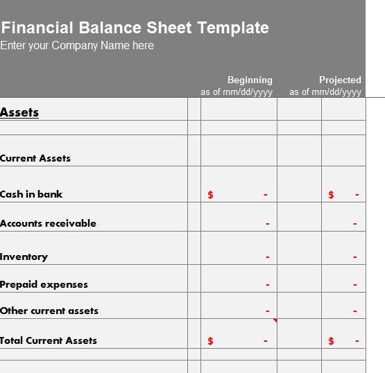 Financial Balance Sheet Template