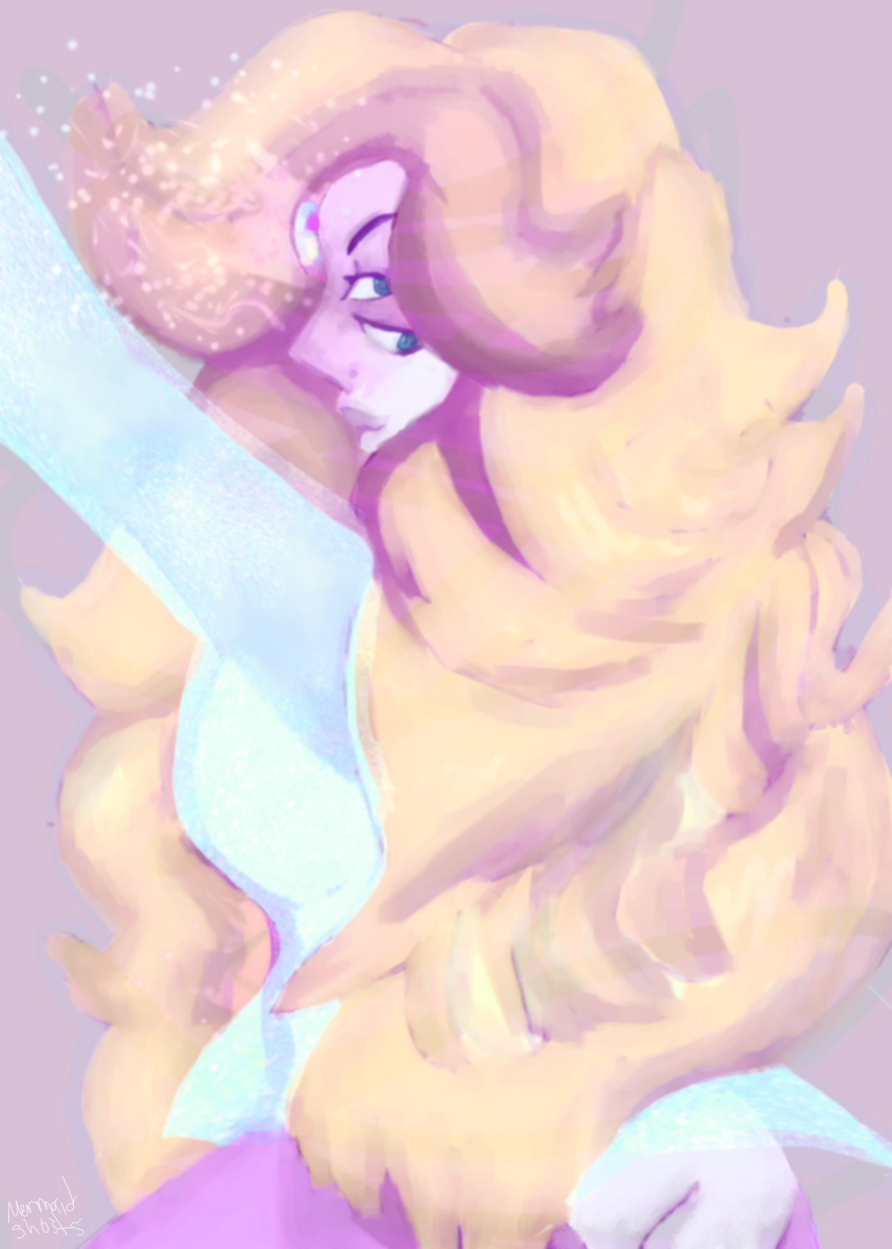 Rainbow quartz is so pretty i had to paint her. (this is the first time i did the gem glowing and i think i did well, and i did the texture on the see through shirt! its sparkely!!)