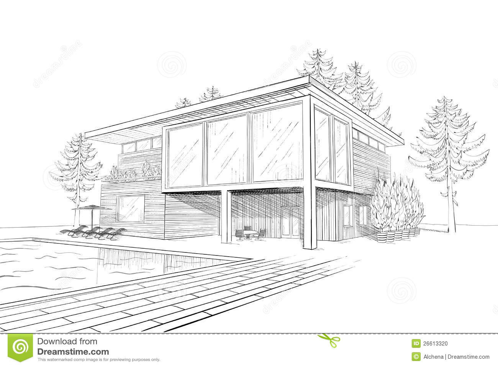 croquis noir et blanc de vecteur de maison en bois suburbaine moderne architecture moderne maison dessin