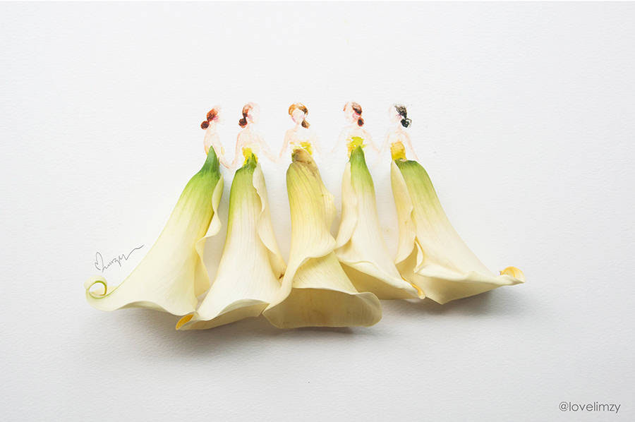 Beautiful Dresses Sketches Completed With Flowers Fubiz Media