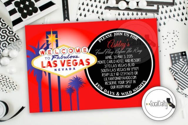 Las Vegas Bachelorette Party Invitation Las Vegas Birthday Party