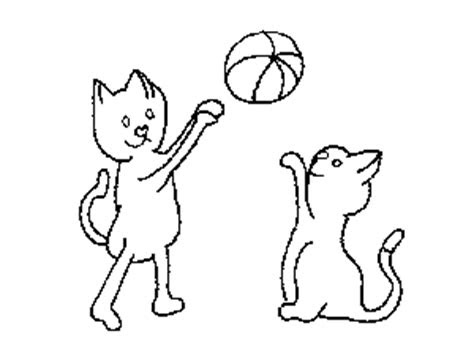 cats playing  ball coloring page