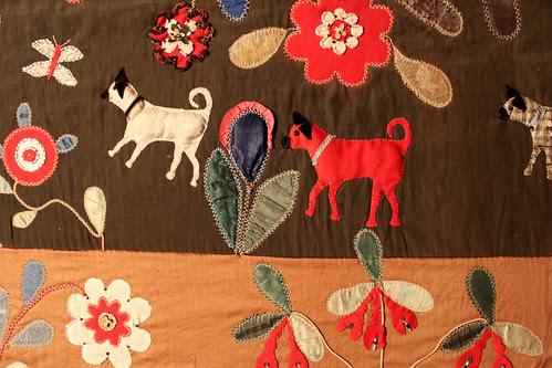 Dog applique quilt at the Folk Art Museum