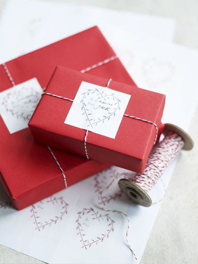 I love the idea of all #red wrapping paper and all #bakerstwine bows.