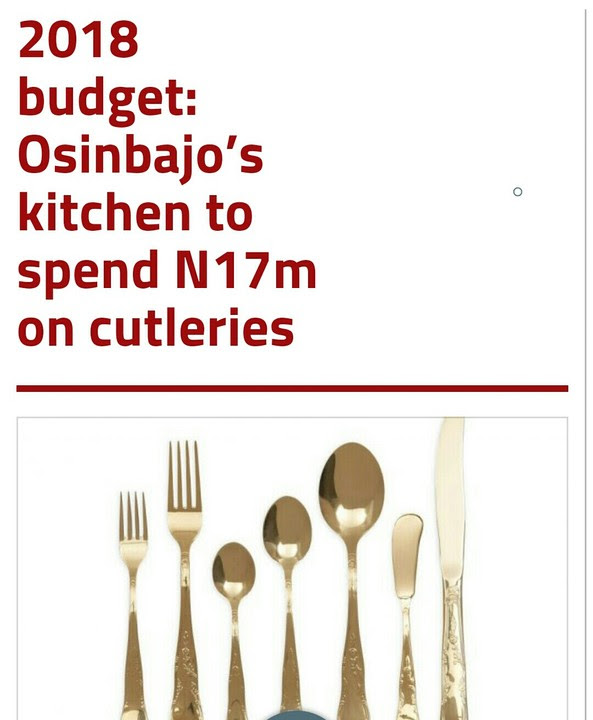 2018 Budget: Osinbajo's Kitchen To Spend N17m On Cutleries