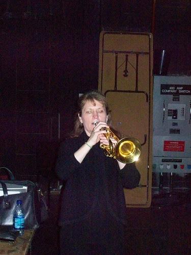 Cathy Leach warming up