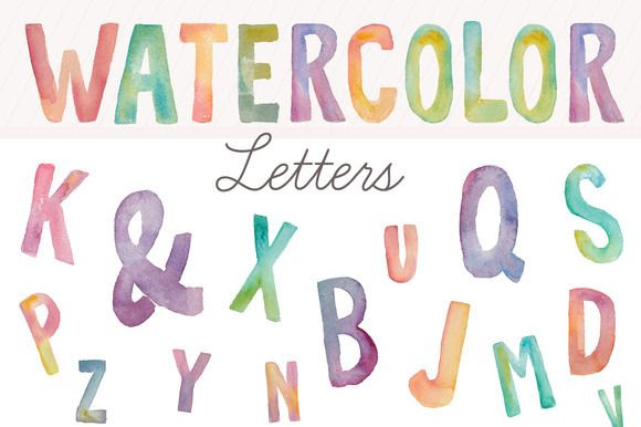 Watercolor Letters- Clip Art by Angie Makes on Creative Market