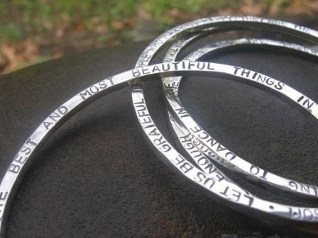 Poem/ Customized Heavy Bangle Bracelet in Sterling Silver - clearly and precisely inscribed to your specifications