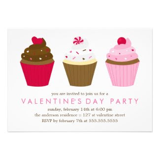 Cupcakes Valentines Day Party Custom Invitations