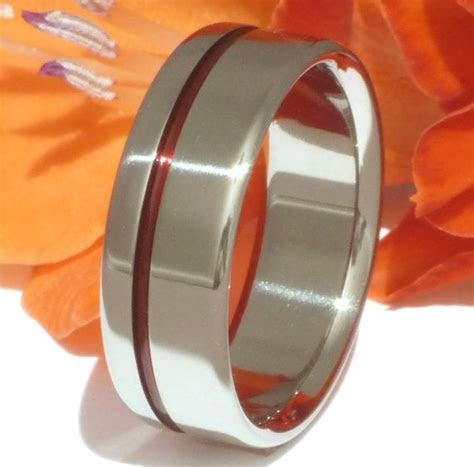Thin Red Line Titanium Ring   Firefighter's Ring   Red