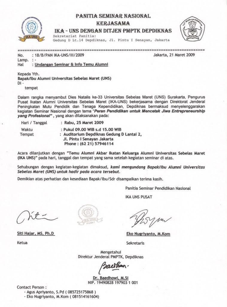 Contoh Surat Dinas Untuk Undangan Seminar - Contoh Isi ...