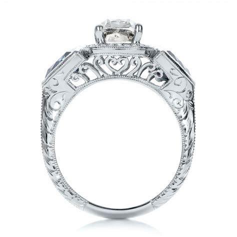 Custom Grey Diamond and Blue Sapphire Engagement Ring