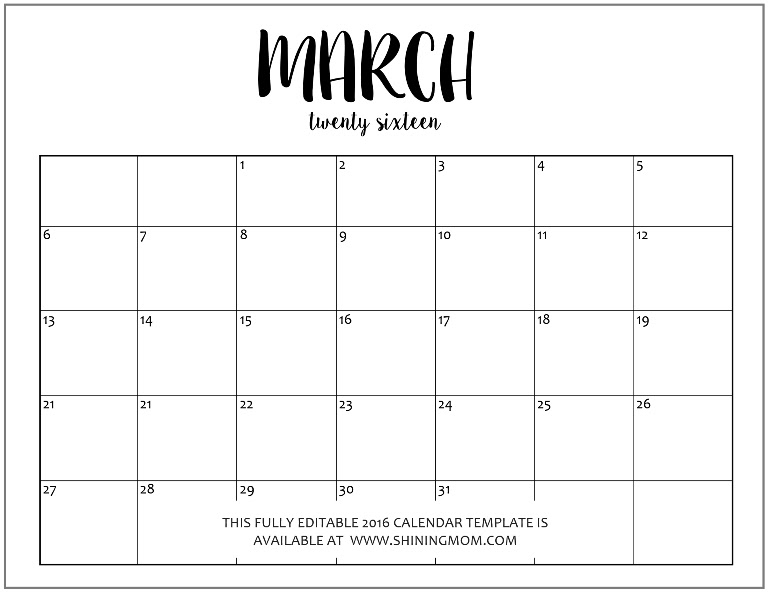 Calendar March 2017 Editable | 2017 calendars