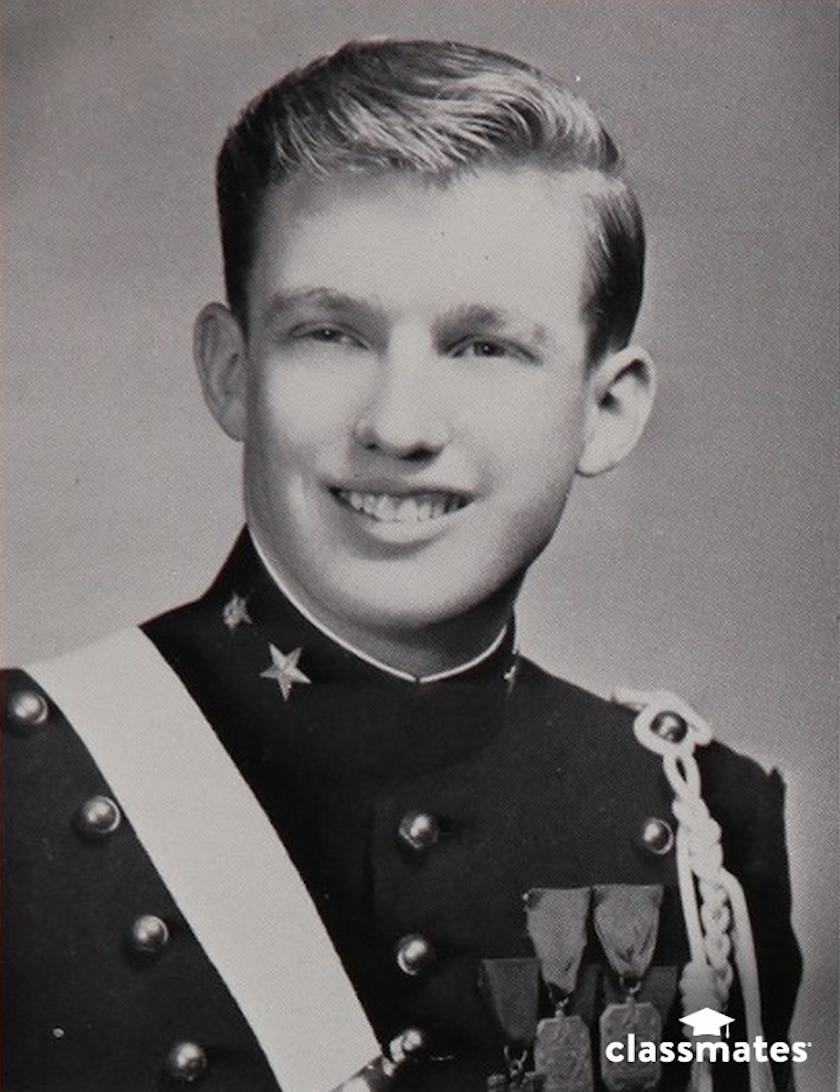 Bound for the rigors of business school in the future, Donald Trump received discipline at an early age by attending a military academy. There, he reportedly excelled in extracurricular activities such as being the Honor Cadet.