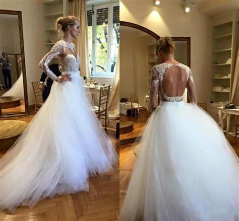 Modest White Long Sleeves Wedding Dresses Cheap Scoop Lace