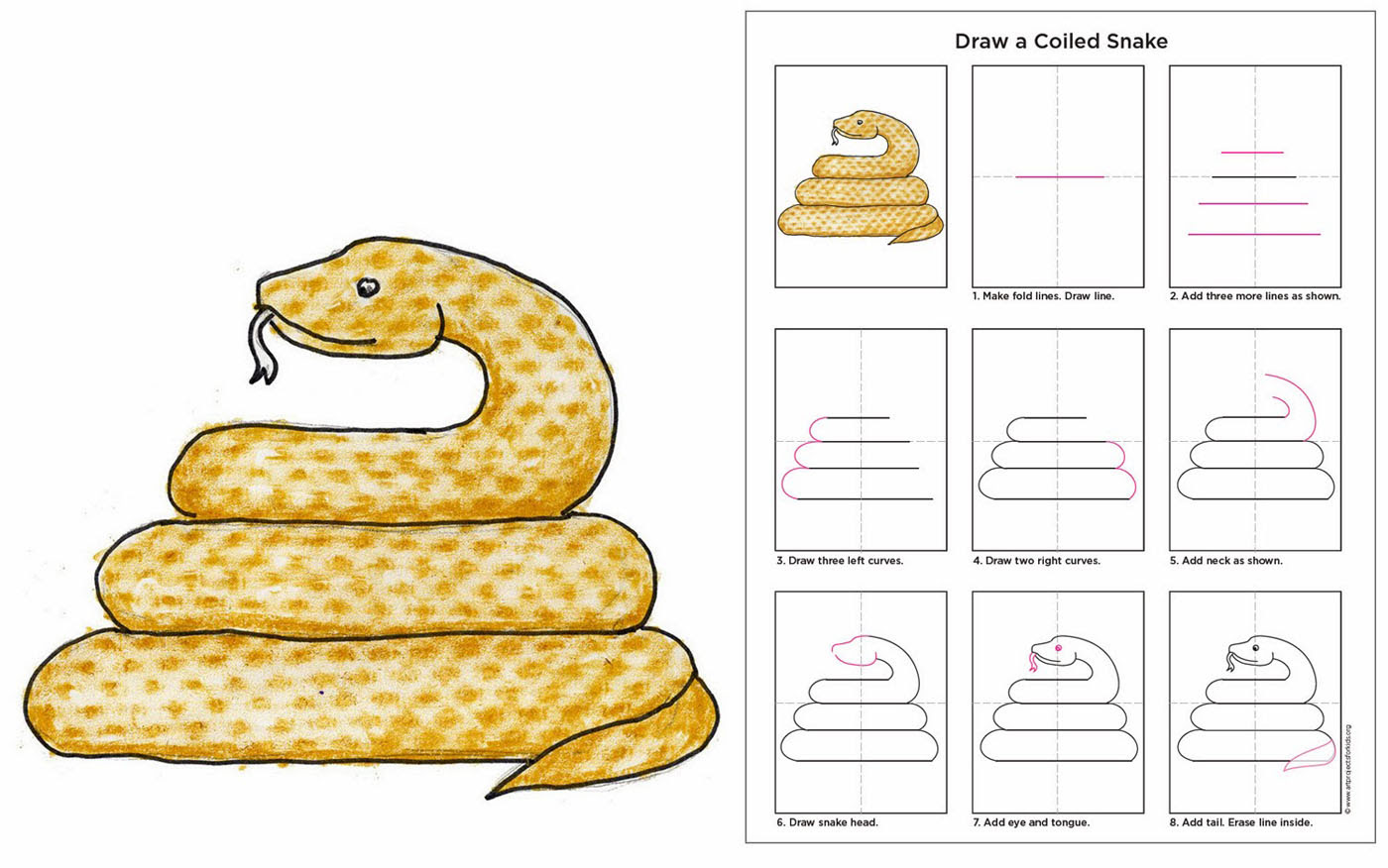 Draw a Coiled Snake - Art Projects for Kids
