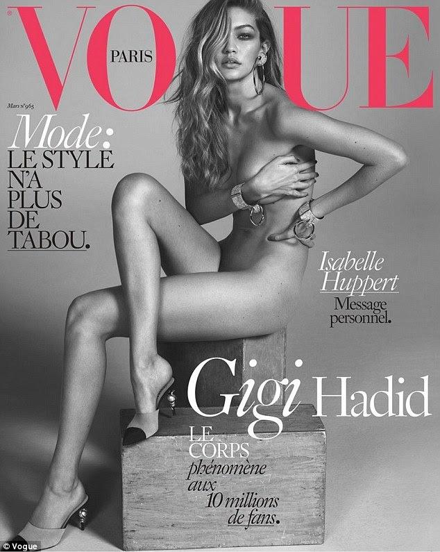 Irmã, irmã, irmã mais velha Gigi Hadid tinha anteriormente posou nua para fotógrafos Mert Alas e Marcus Pigott para a edição de março da Vogue Paris