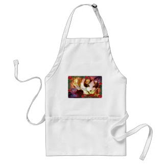 snowshoe kitty in the red roses adult apron