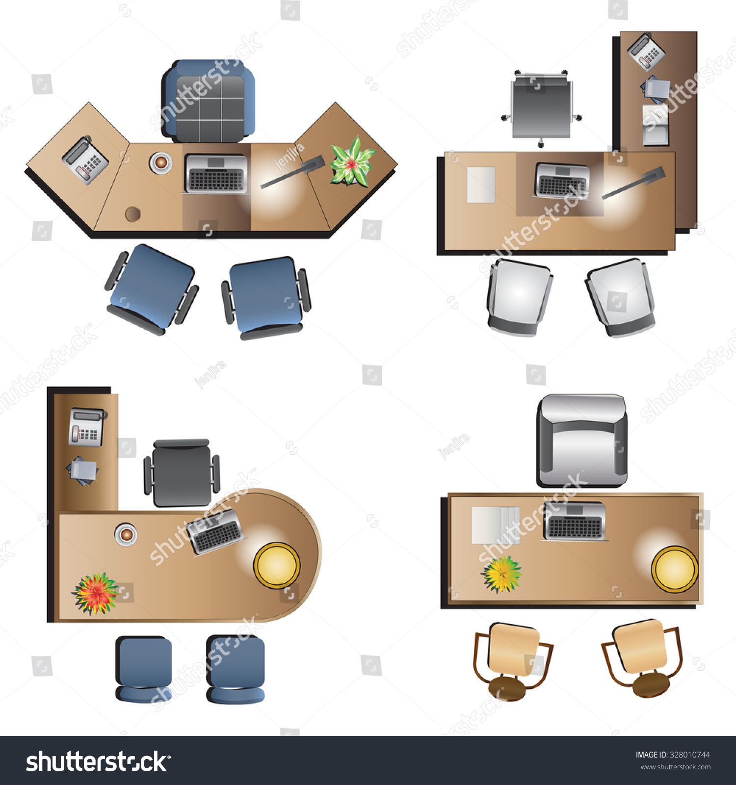 Office Furniture Top View For Interior Vector Ilration Text1