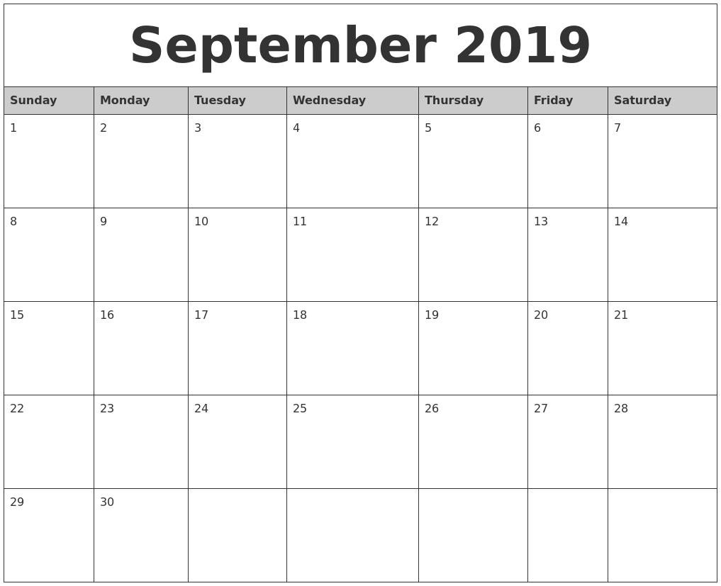 september 2019 monthly calendar printable full weekday