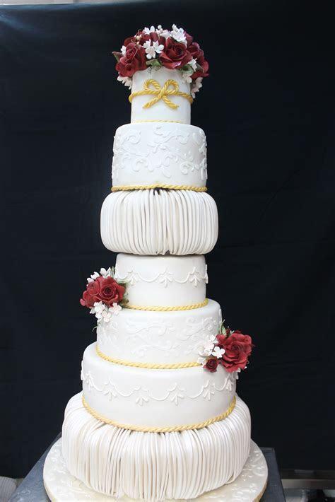 Complete Deelite: 7 tier Burgundy Rose Wedding Cake