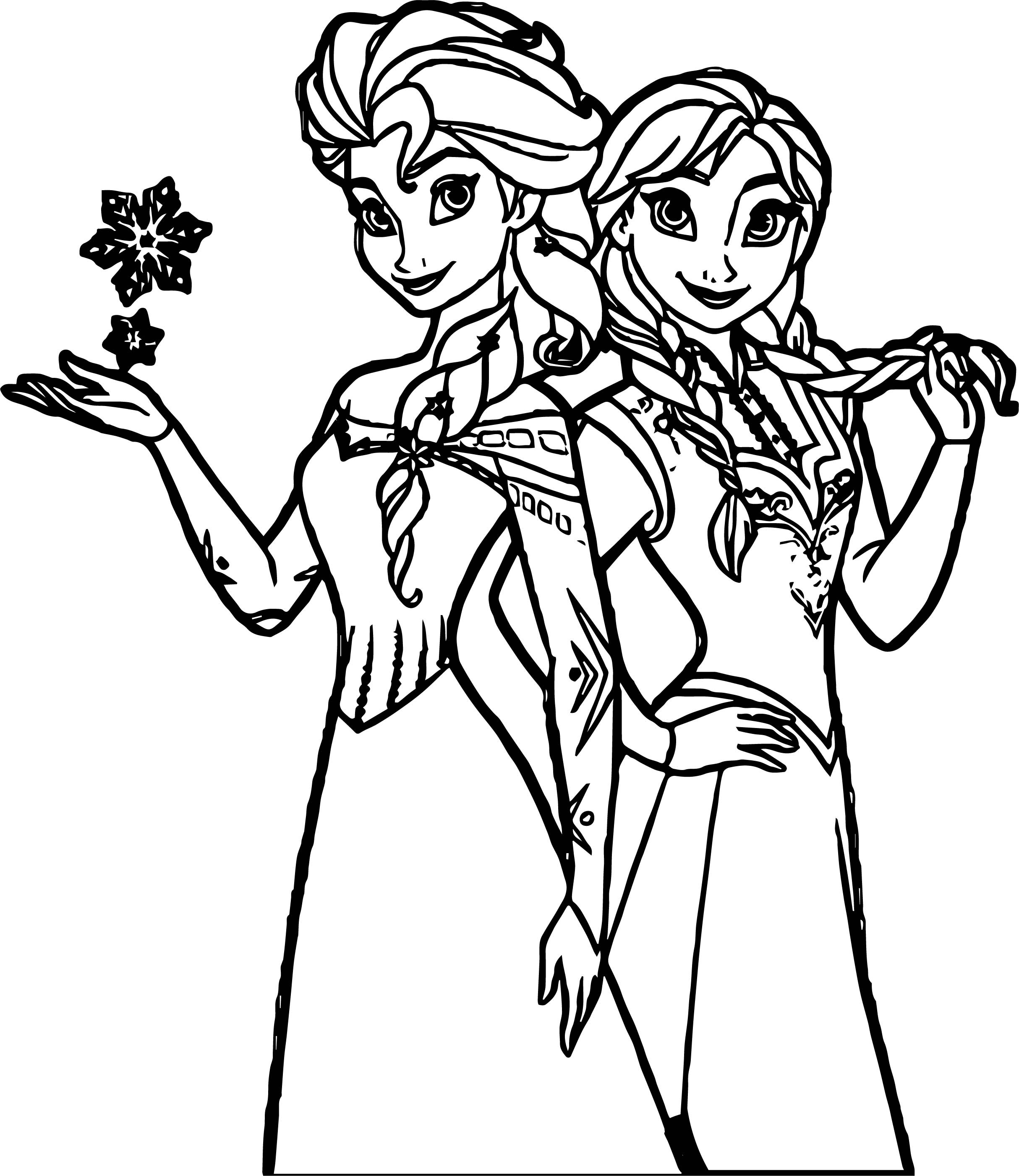 Anna Elsa Together Now Coloring Page Wecoloringpagecom