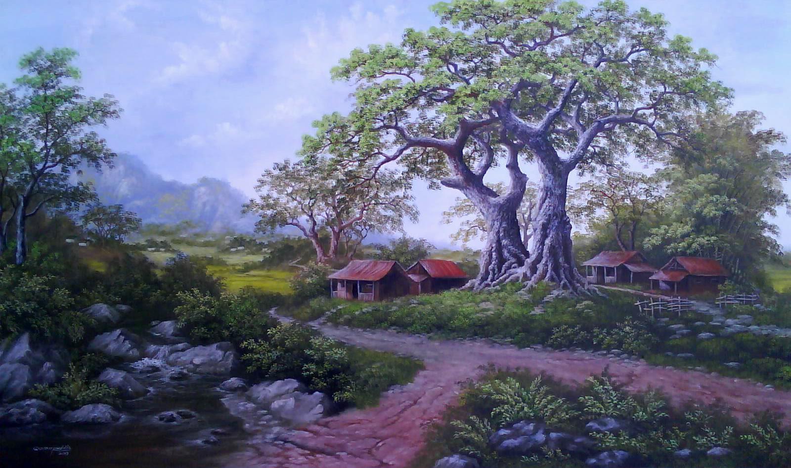 Qomaruddin Painter Lukisan  Pemandangan  Desa