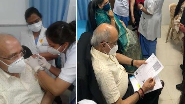 राम मंदिर निर्माण समिति के चेयरमैन नृपेन्द्र मिश्रा को लगा कोरोना वैक्सीन का टीका