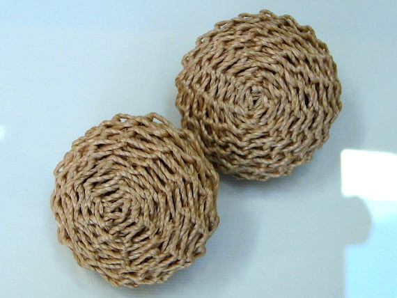 Beige Jute Natural earrings 1960s