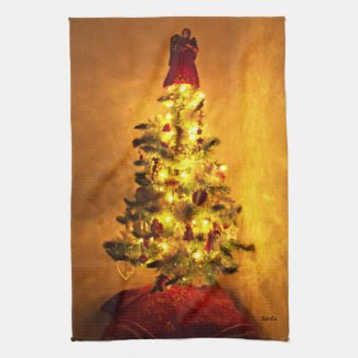 Vintage Christmas Tree Kitchen Towel