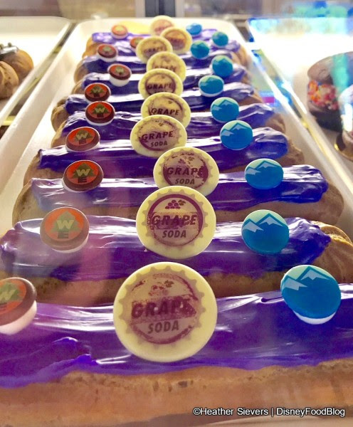 Specialty Eclairs all lined up in the pastry case!