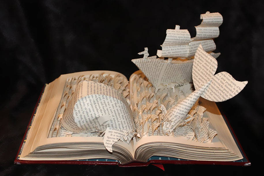 Paper sculptures depicting wondrous worlds from books ...