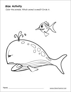 big and small color worksheet for preschool 2