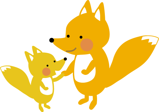 キツネの親子のイラスト 無料イラストフリー素材