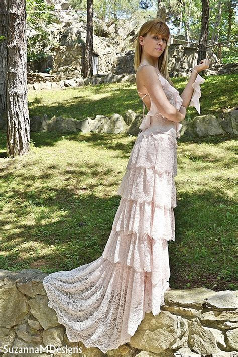 Blush Wedding dress Pink Lace Bohemian Wedding Dress