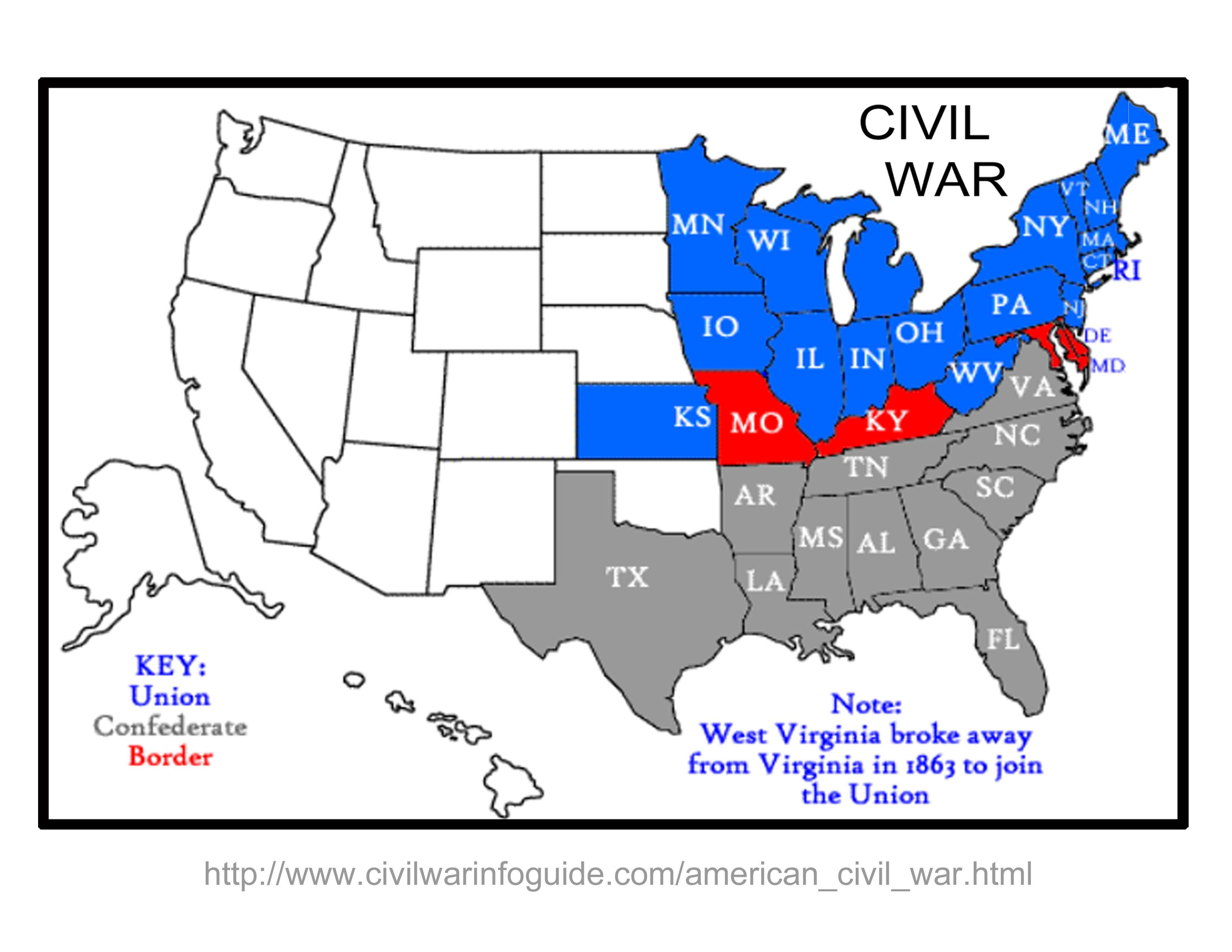 Us Map Civil War Battles