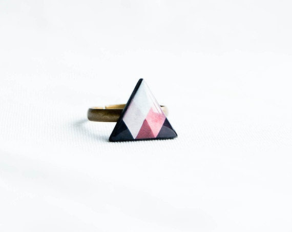 Triangle ring, geometric jewelry