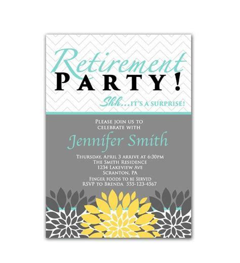 Surprise Retirement Party Invitation Blue Yellow and Gray