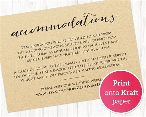 Wedding Accommodations Card Insert · Wedding Templates and