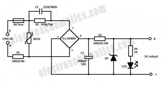 how to design a transformer less power supply circuit