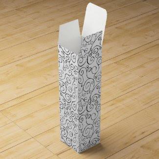 Hand-Painted Black Curvy Pattern on White Wine Gift Box