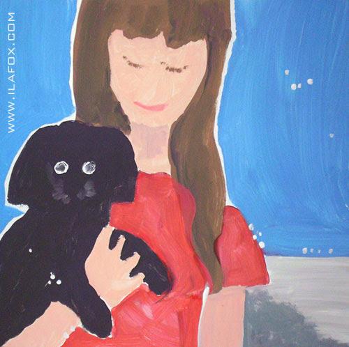ila de 11 anos segurando a poodle lady - pintura em latex 60X60, dicas para ilustradores, by ila fox