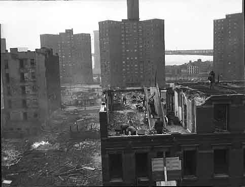 A tenement being demolished on the Lower East Side for 'phase 2' of Baruch Houses, November 1950.