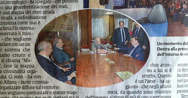 Catania, il ministro dell'Interno Alfano in visita dall'indagato Mario Ciancio