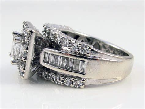 Zales 14K White Gold 2.20CT Princess Cut & Round Diamond