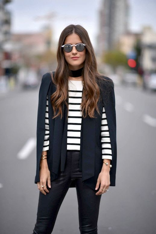 Le Fashion Blog Blogger Style Mirrored Sunglasses Black Choker Cape Blazer Striped Top Leather Pants Via Blank Itinerary